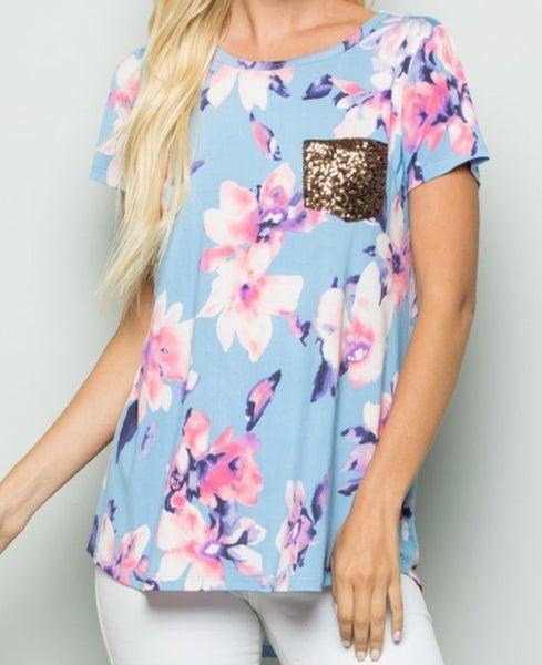Aqua floral top with glitter pocket