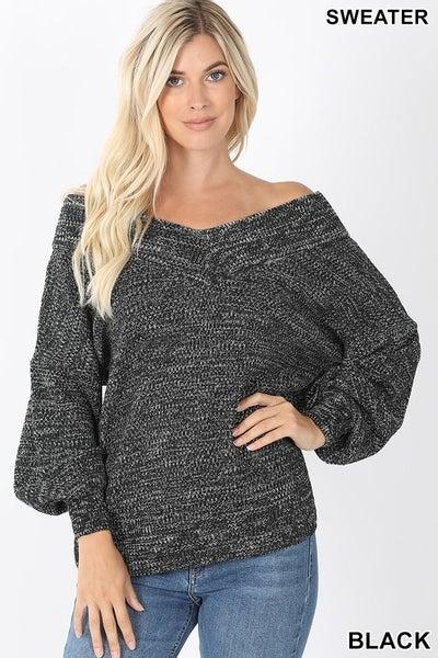 Balloon Sleeve Vneck Sweater