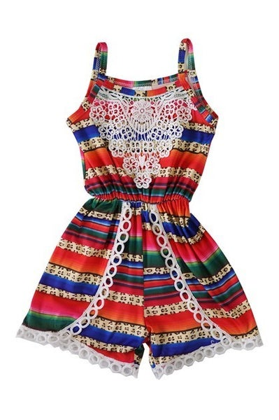 multicolor romper with lace detail