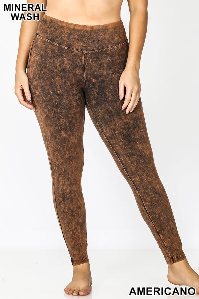Mineral Wash Leggings- Americano