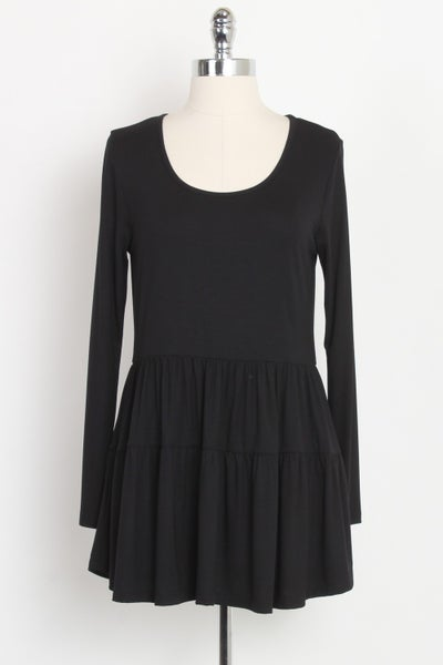 Black Long Sleeve Tiered Tunic