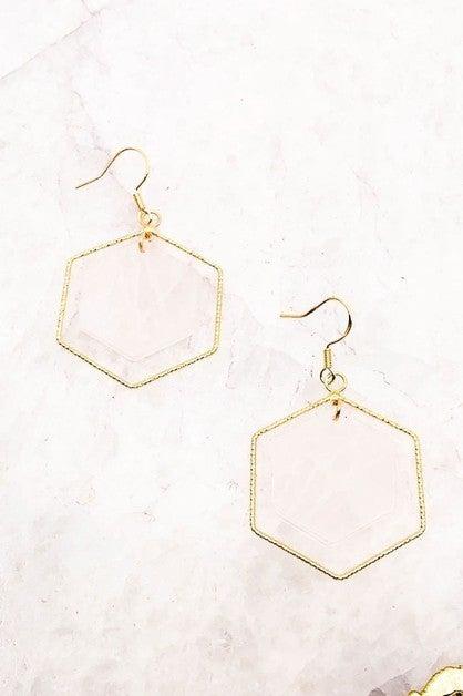 Semi Precious Stone Hexagon Drop Earrings