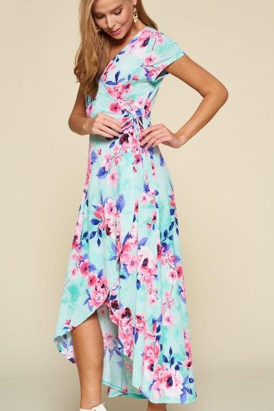 Mint floral wrap dress