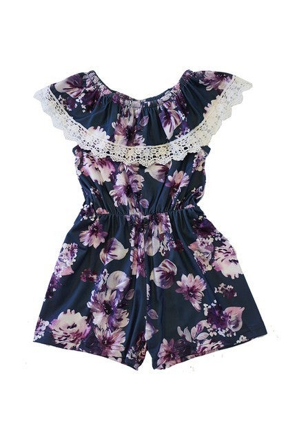 Grey floral lace romper for girls