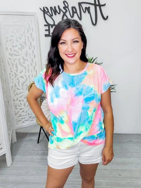 Neon tie dye twist top