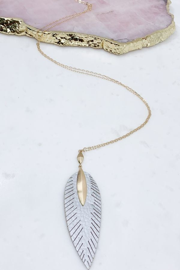 Fringed Feather Leather Necklace