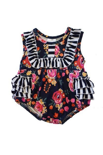 Black floral ruffle bubble romper