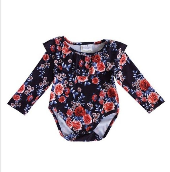 Black floral futter sleeve onesie