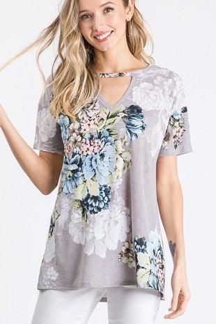 Floral Key Hole top