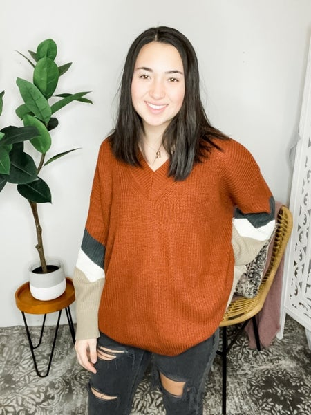 V NECK COLOR BLOCK BUBBLE SLEEVE SWEATER TOP