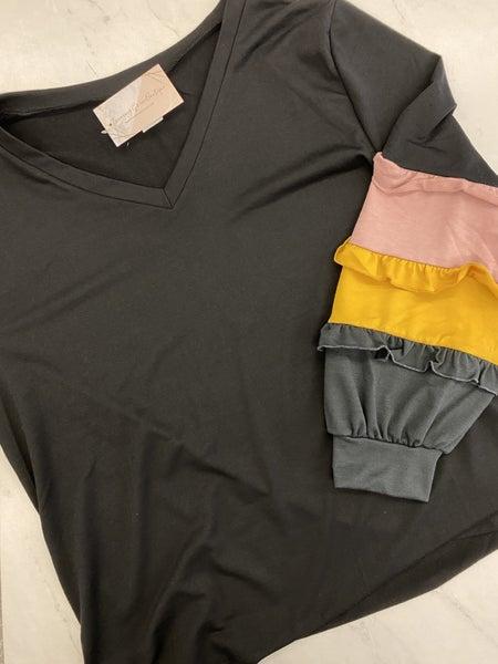 Pink Plus Waffle Knit Ruffle Sleeve  Top