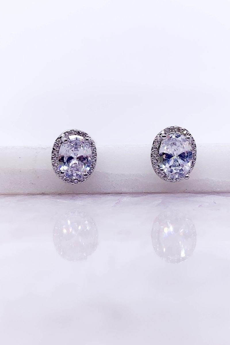 CZ Stone Earring (OVAL)