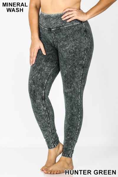 Mineral Wash Leggings- Hunter Green