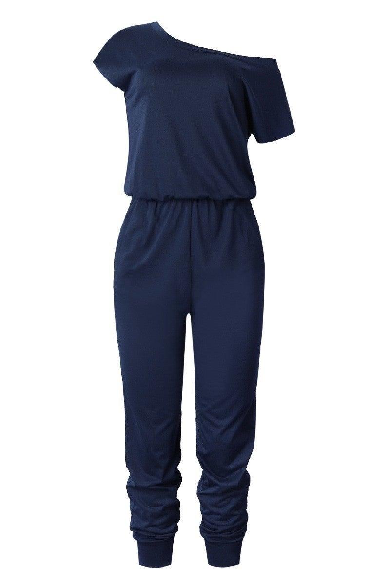 Navy off the shoulder jumpsuit