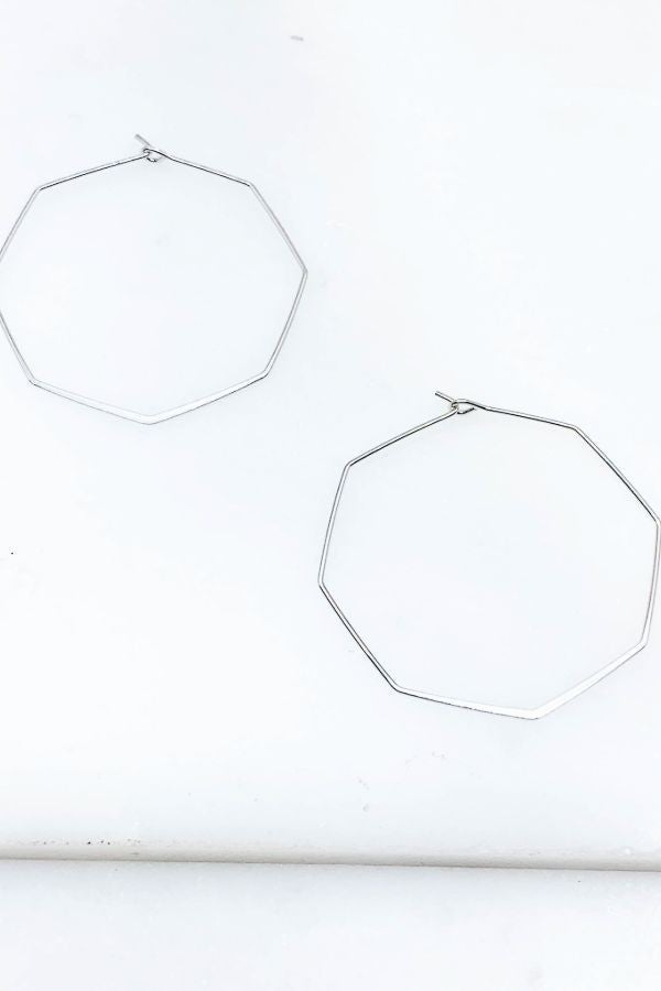 Hexagon Hoop Earrings 2""