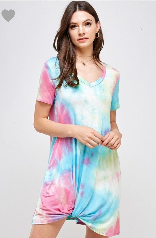 Sky tye dye Tshirt dress with knot
