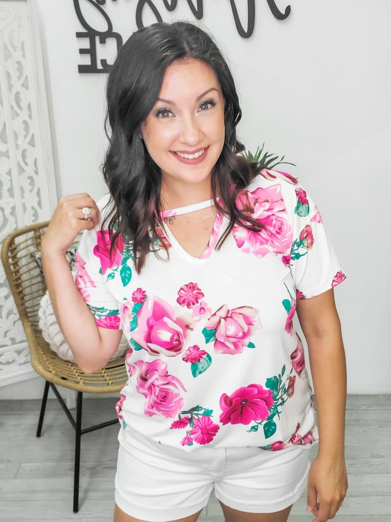 Ivory floral keyhole top