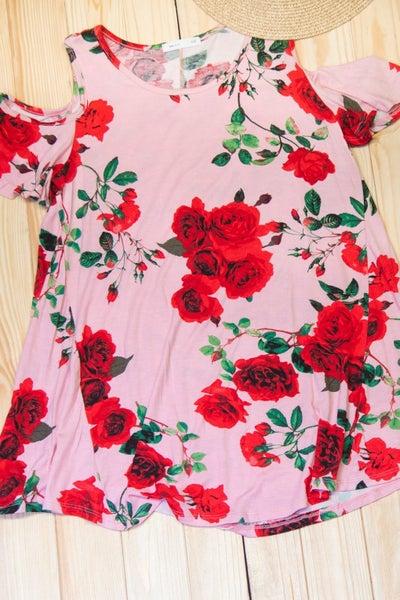 Blush Floral Cold Shoulder Blouse