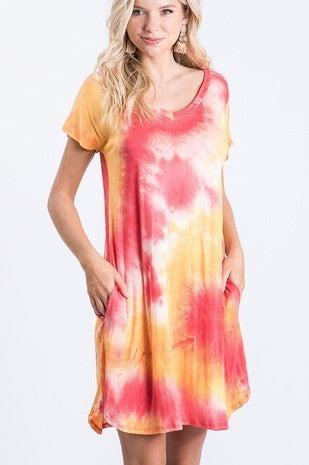 Red & orange tye dye T-shirt dress