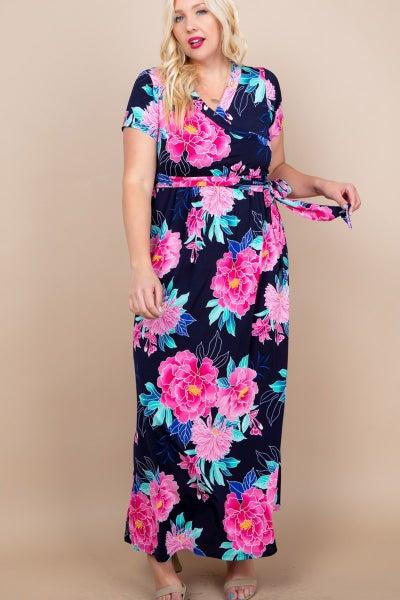 Plus Floral wrap dress