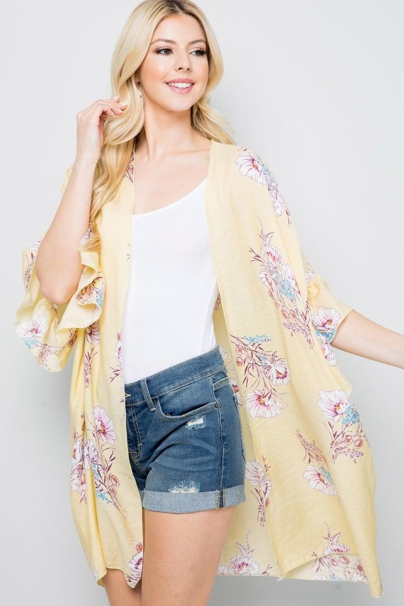 Yellow sheer floral kimono