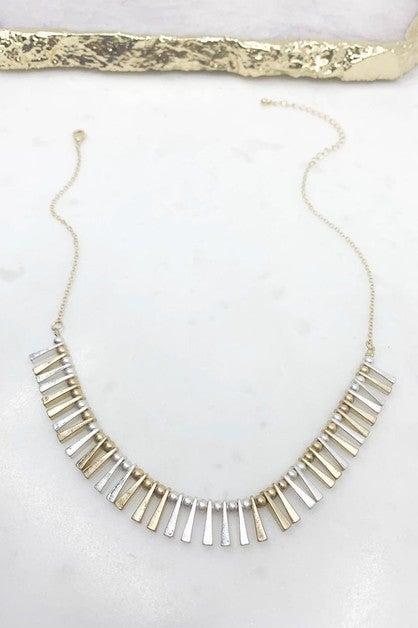Multi Bar Fringe Necklace