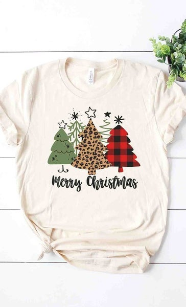 Multi Pattern Christmas Tree Graphic Tee
