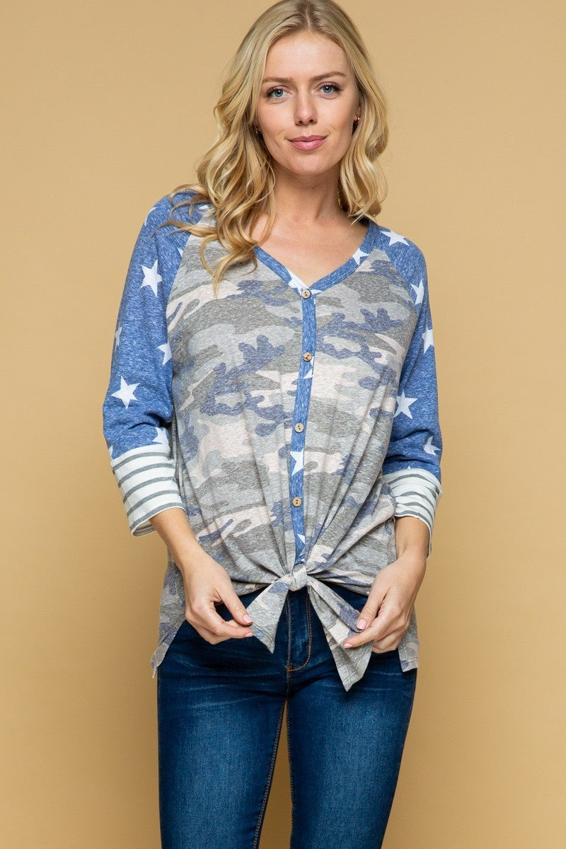 Blue star camo button top