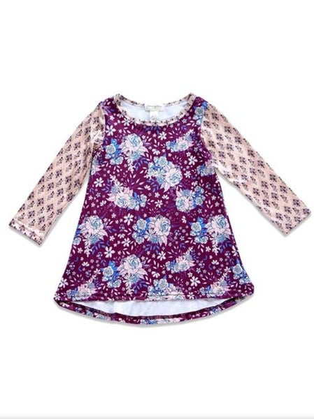 Girls purple floral dress with striped sleeves