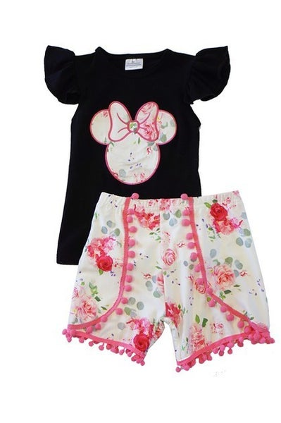 Pink black floral minnie shorts set