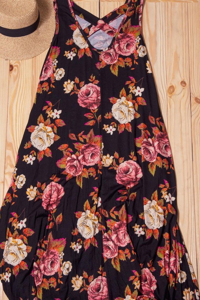 Black Floral Cross Back Hi Lo Maxi Dress