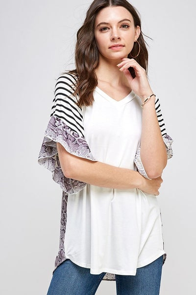 Ivory blouse with snakeskin flutter sleeves