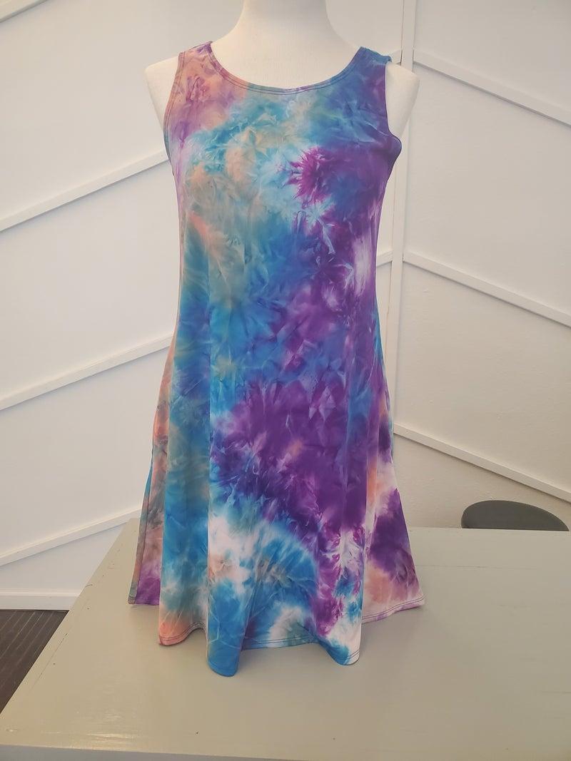 Purple tye dye tank dress