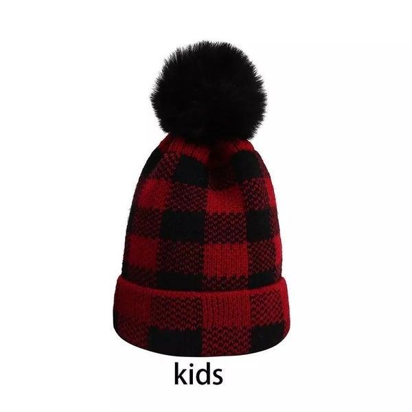Kids Buffalo Plaid Hat with Pom