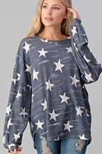 Star print puff sleeve pullover