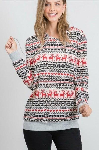 Reindeer Print Hoodie