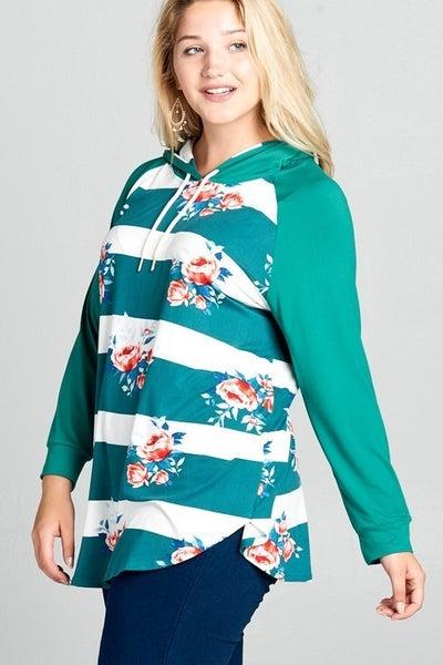Jade striped floral hoodie
