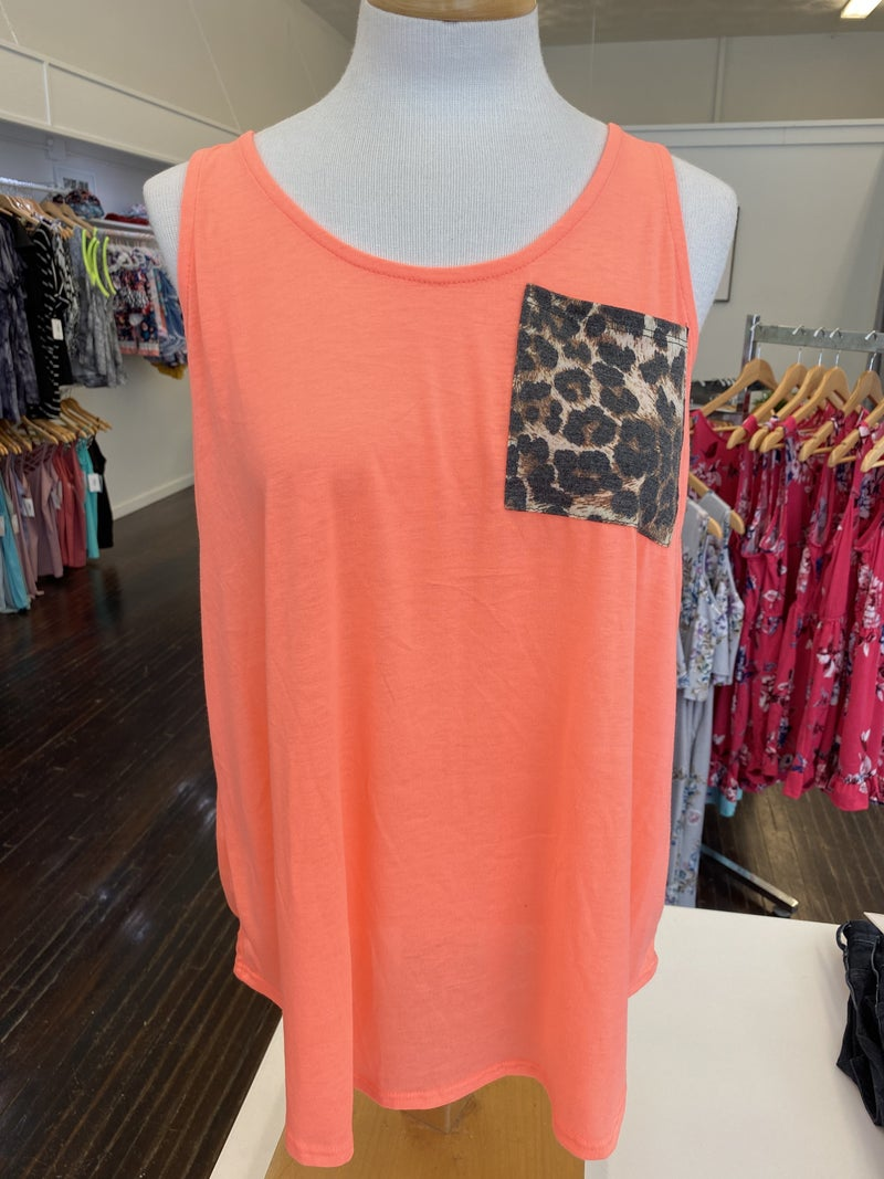 Neon Coral with Leopard Pocket Tank