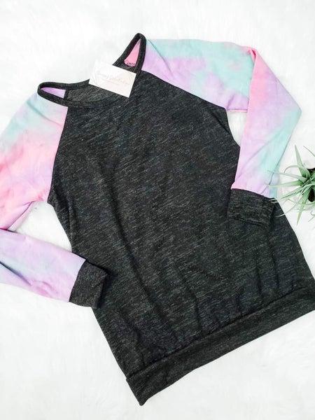 Tie dye contrast sleeve top
