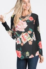 Black Floral criss cross top