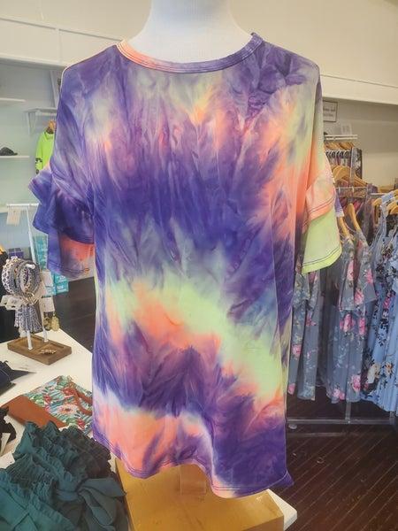 Tye Dye ruffle sleeve top
