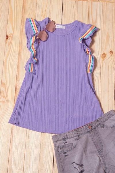 Purple Stripe Flutter Sleeve Blouse