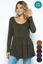 Olive Long Sleeve Tiered Tunic