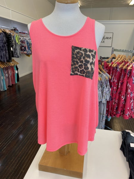 Neon Pink with Leopard Pocket Tank