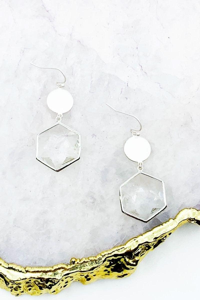 Hexagon Stone Drop Earrings