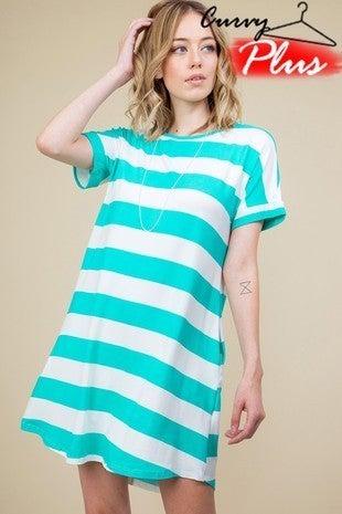 Mint striped t-shirt dress