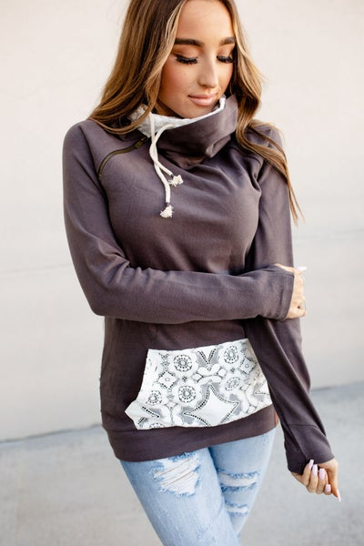 A&A DoubleHood Sweatshirt - Lace Accent - 3 Colors *Pre-Order*