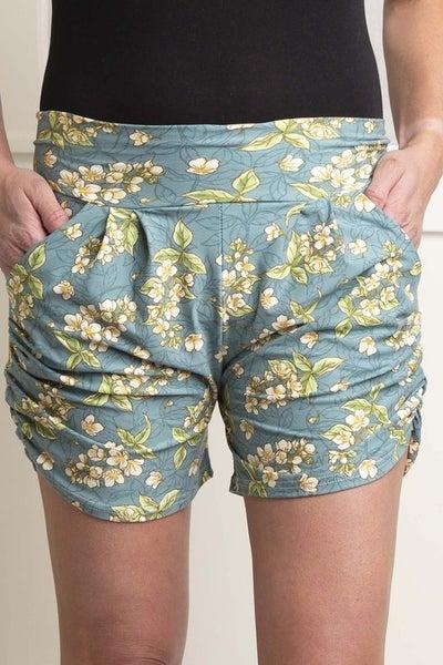 Teal Floral Harem Shorts