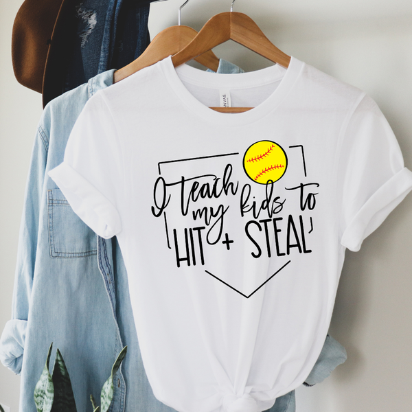 I Teach My Kids Softball Graphic Tee