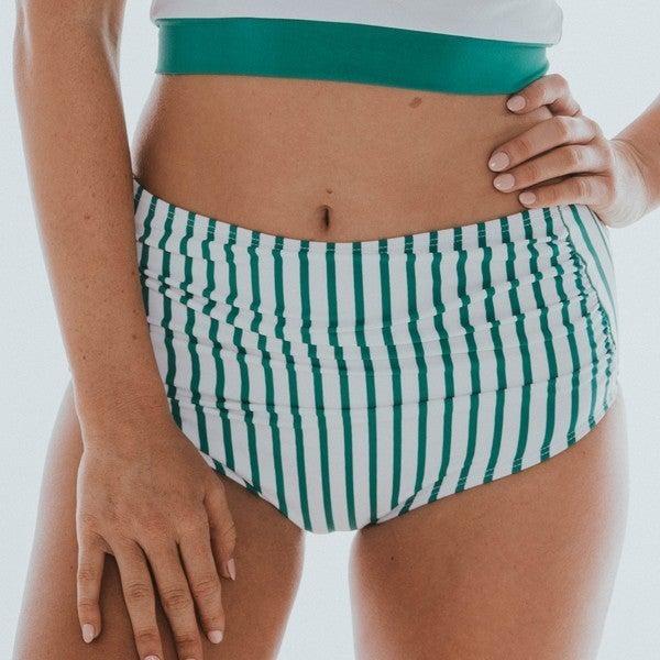 BAREFOOT - Women's Green & White Stripe Midi Ruched Bottom